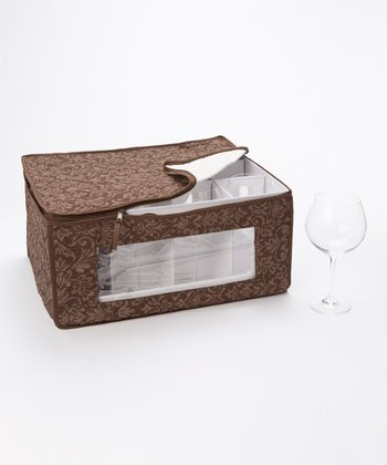 Brown Damask Balloon Stemware Storage Box