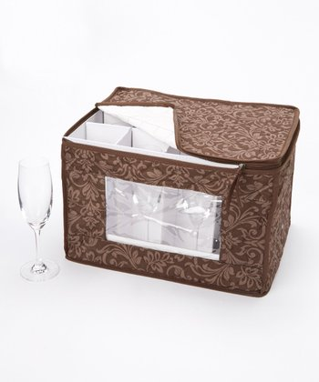 Brown Damask Flute Stemware Storage Box