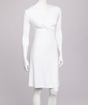 White Twist Front Dress - Women