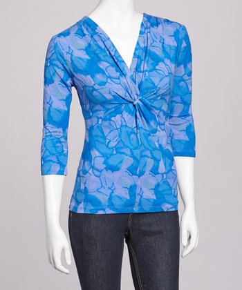 Periwinkle & Ocean Waters Twist Front Top