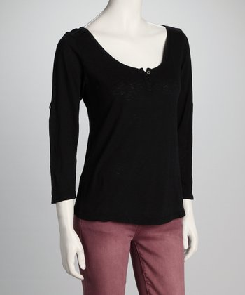 Black Vintage Henley - Women