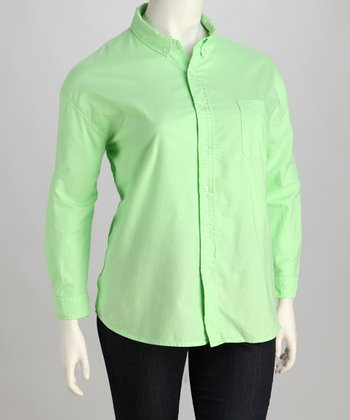 Meadow Oxford Plus-Size Button-Up