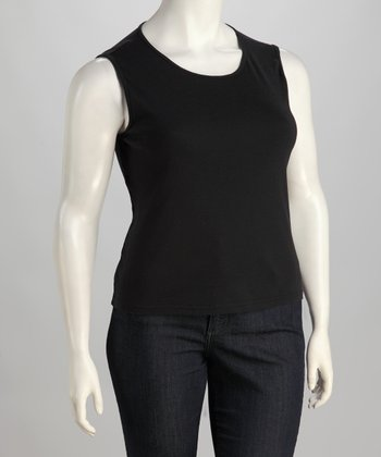 Black Baby Rib Plus-Size Tank