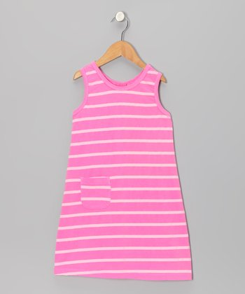 Pink Stripe Pocket Shift Dress - Girls