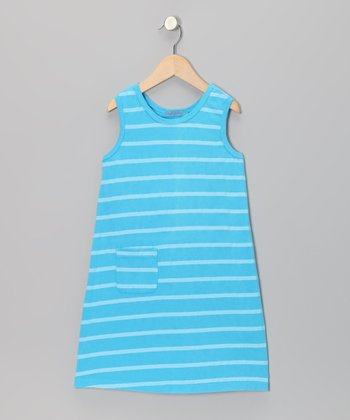 Laguna Blue Stripe Pocket Shift Dress - Girls