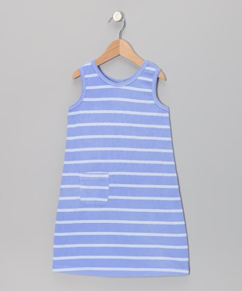 Periwinkle Stripe Pocket Shift Dress - Girls