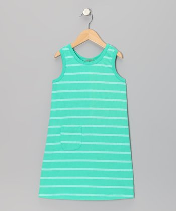 Kelly Green Stripe Pocket Shift Dress - Girls