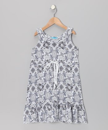 White Arabesque Flower Tie-Front Dress - Girls