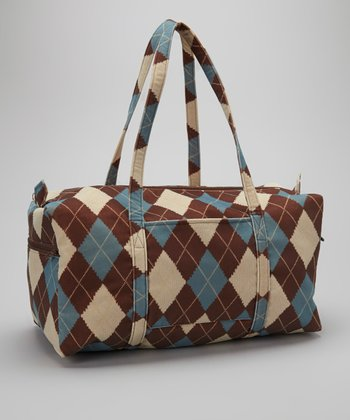 Blue and Brown Argyle Duffel Bag