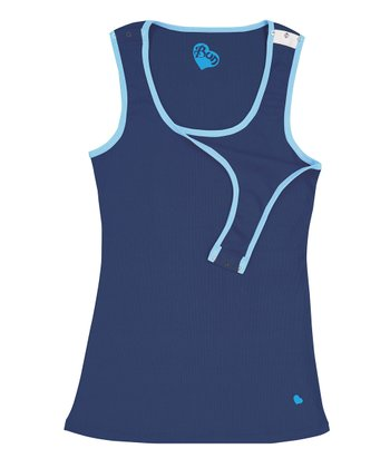 Navy Sea & Bub Blue Retro Nursing Tank - Women