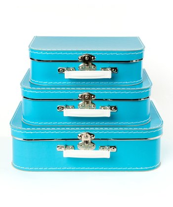Blue Storage Suitcase Set