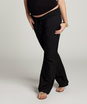 Black Linen-Blend Maternity Pants