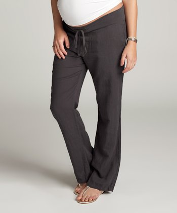 Gray Linen-Blend Maternity Pants