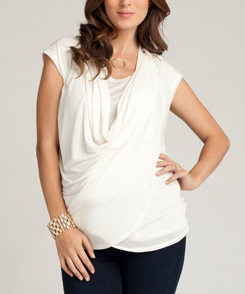 Ivory Maternity Wrap Top