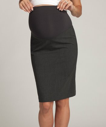 Charcoal Pleated Wool-Blend Over-Belly Maternity Pencil Skirt