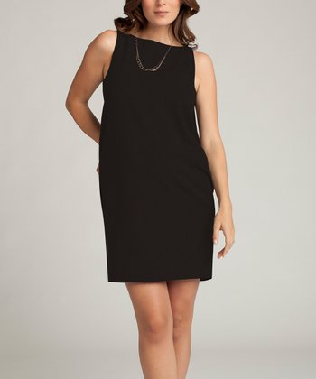 Jet Black Wool-Blend Maternity Shift Dress