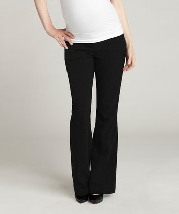 Jet Black Wool-Blend Over-Belly Maternity Bootcut Pants