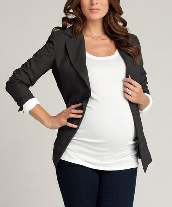 Charcoal Heather Single-Button Wool-Blend Maternity Blazer