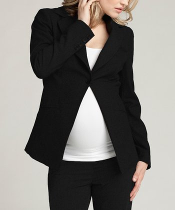 Jet Black Single-Button Wool-Blend Maternity Blazer