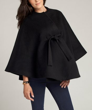 Black Tie-Front Wool-Blend Maternity Cape