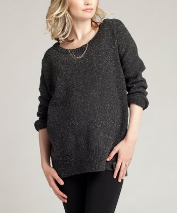 Charcoal Heather Slouch Wool-Blend Maternity Sweater