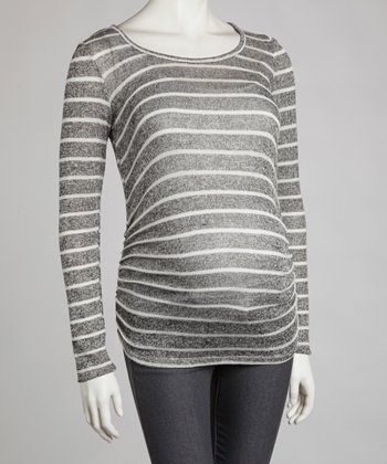 Black & Ivory Stripe Maternity Scoop Neck Top - Women