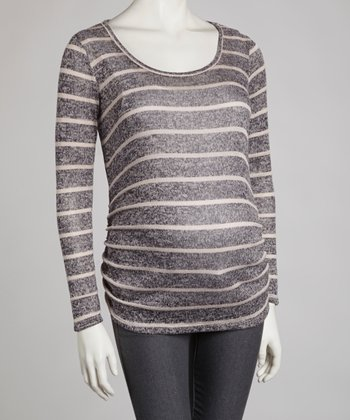 Navy & Ivory Stripe Maternity Scoop Neck Top - Women