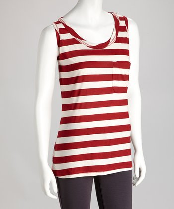 Red Stripe Pocket Tank