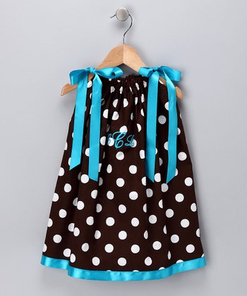 Brown Polka Dot Monogram Swing Dress - Infant, Toddler & Girls