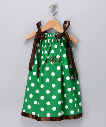 Green Polka Dot Monogram Swing Dress - Infant, Toddler & Girls