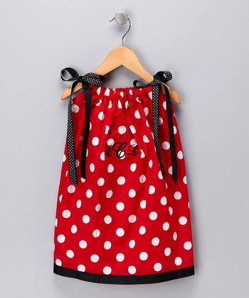 Red & White Polka Dot Monogram Swing Dress - Infant, Toddler & Girls