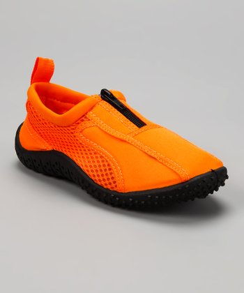 Neon Orange Aqua Zipper Water Shoes