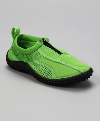 Neon Green Aqua Zipper Water Shoes