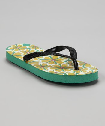 Black & Yellow Hawaii Flip-Flop - Kids