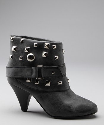 Black Studded Strap Ankle Boot