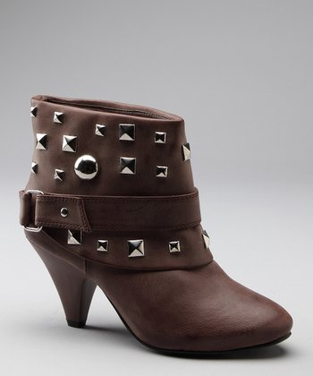 Brown Studded Strap Ankle Boot