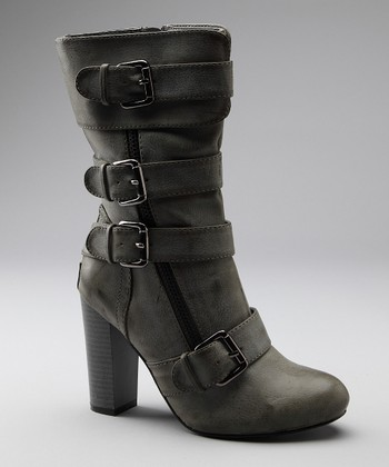 Gray Big Buckle Boot