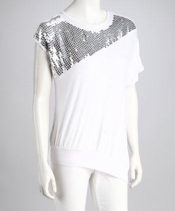 White Sequin Top - Women