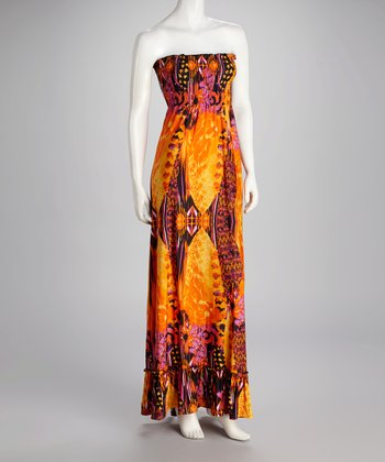 Orange & Fuchsia Strapless Maxi Dress