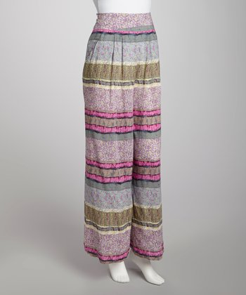 Pink & Gray Stripe Flare Pants - Women