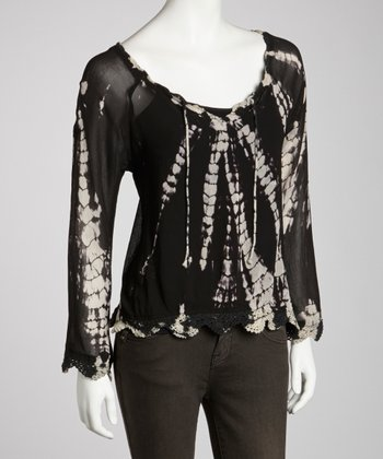 Black Sheer Tie-Dye Crocheted Top - Women