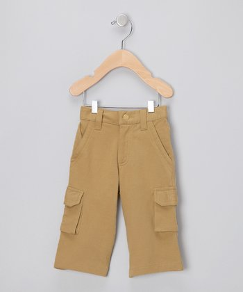 Olive French Terry Organic Cargo Pants - Infant & Toddler