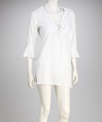 Yuka Beach White Peasant Cover-Up