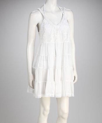 Yuka Beach White Tiered Cover-Up