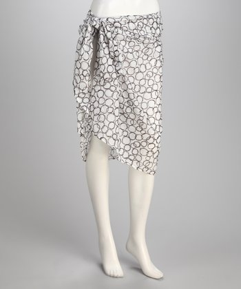 Yuka Beach White & Gray Circle Sarong