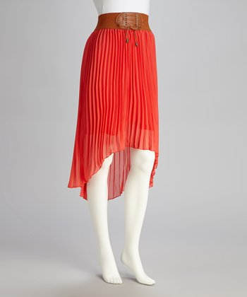 Coral Pleated Hi-Low Skirt