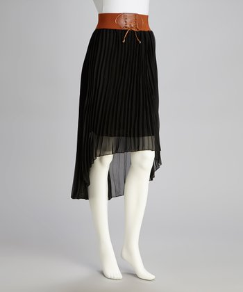 Black Pleated Hi-Low Skirt