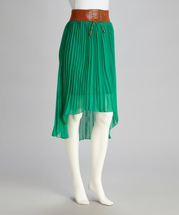 Green Pleated Hi-Low Skirt