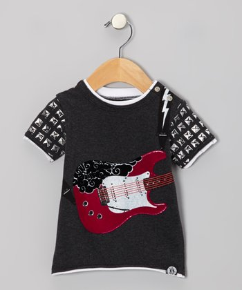 Charcoal & Electric Pink Guitar Snap Tee - Infant