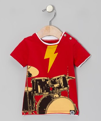 Red To The Beat Of Your Drums Snap Tee - Infant